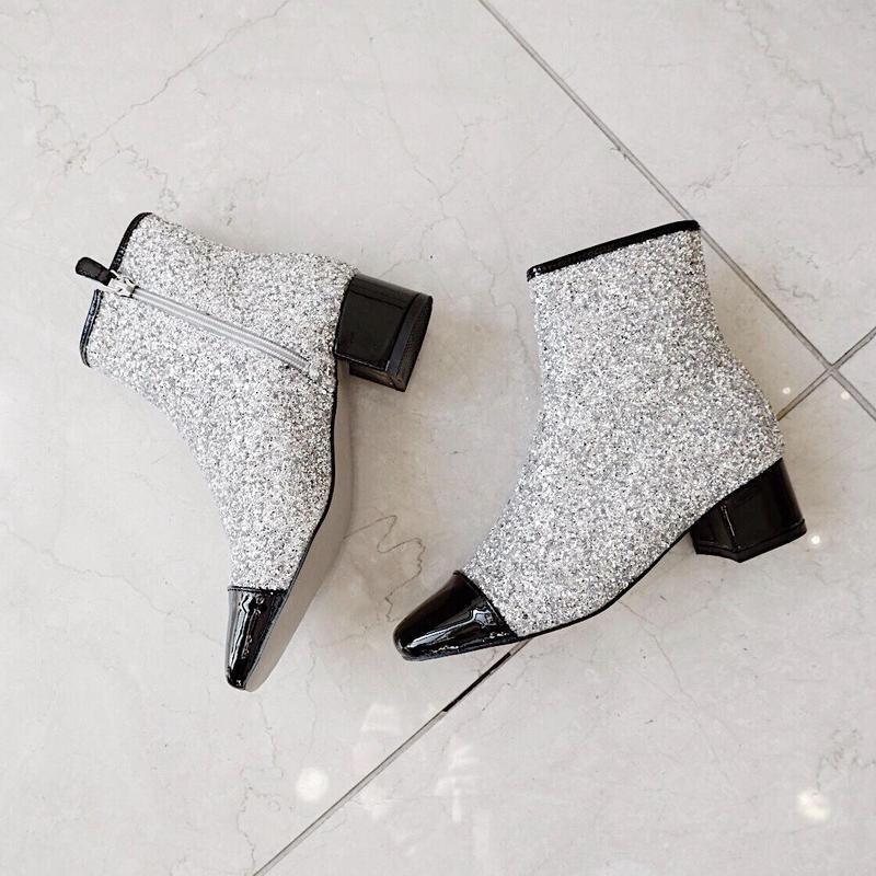 square glitter boots