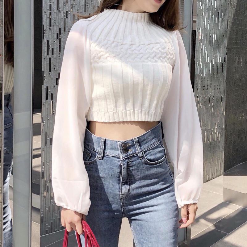 chiffon sleeve knit / white
