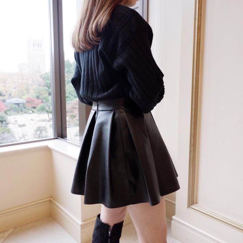 leather pleats mini