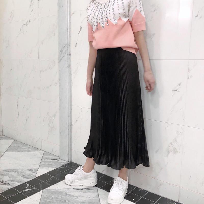【即納】glossy pleats SK / black