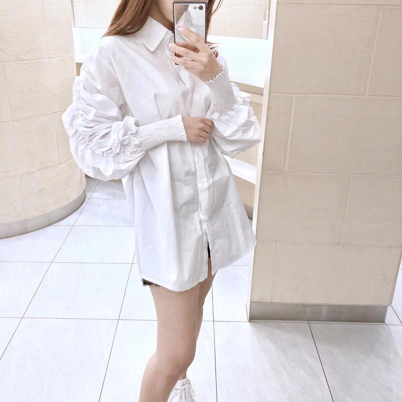 【予約】shirring sleeve shirt