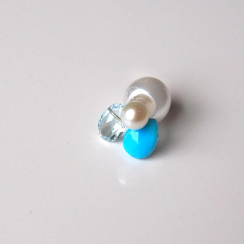 3stones  turquoise   ピアス  (single)