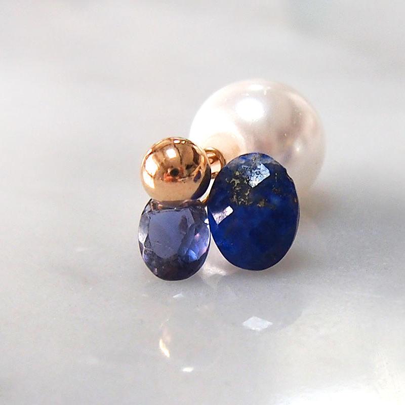 2WAY■Lapis lazuli3粒ピアス 片耳売り
