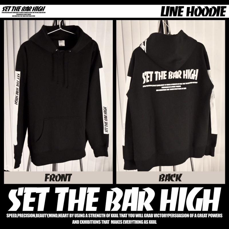''SET THE BAR HIGH''プルオーバーパーカー WHITE LINE