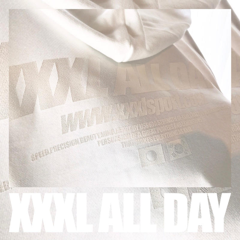 ''XXXL ALL DAY''JAPAN×KOREA フルジップパーカー ALL WHITE