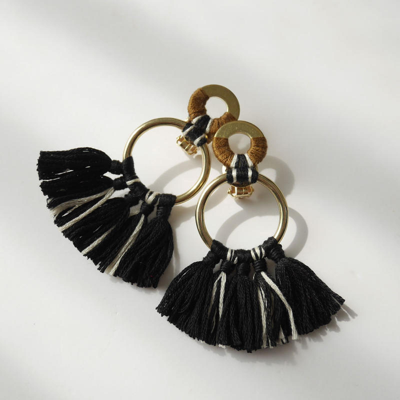 fringe pierce/earrings BLACK