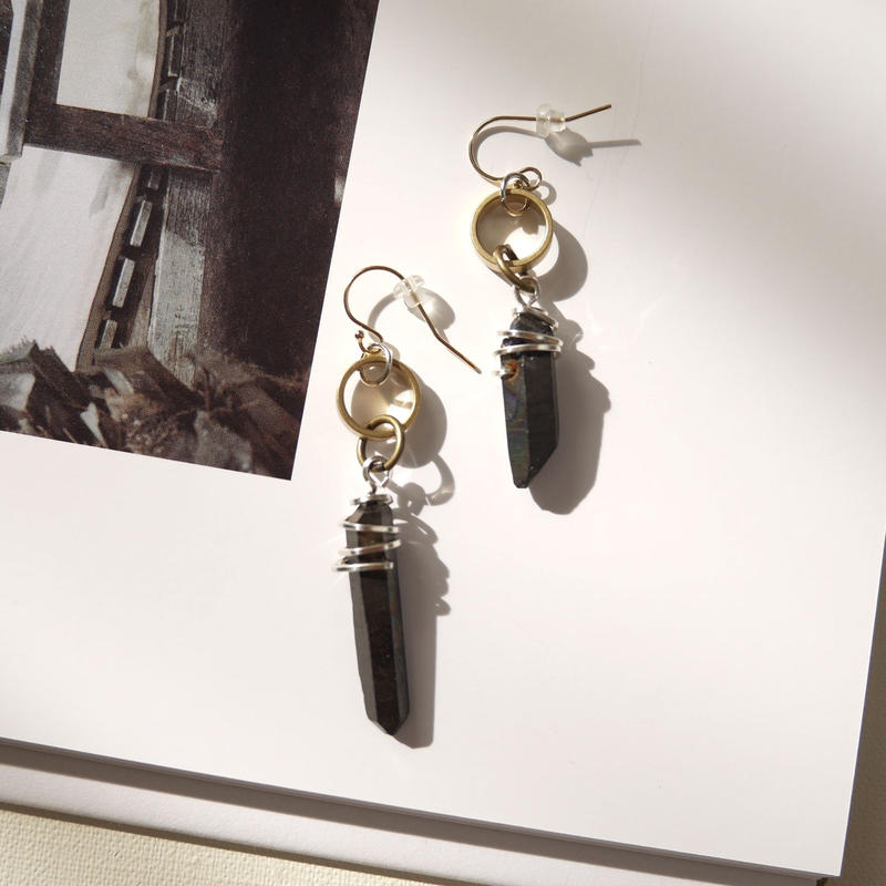 crystal pierce/earrings BLACK