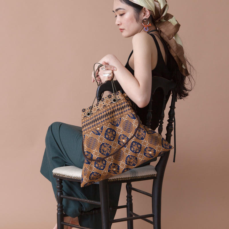 batik 3ways bag NAVY