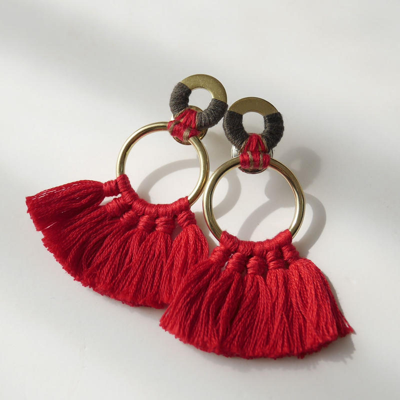 fringe pierce/earring RED
