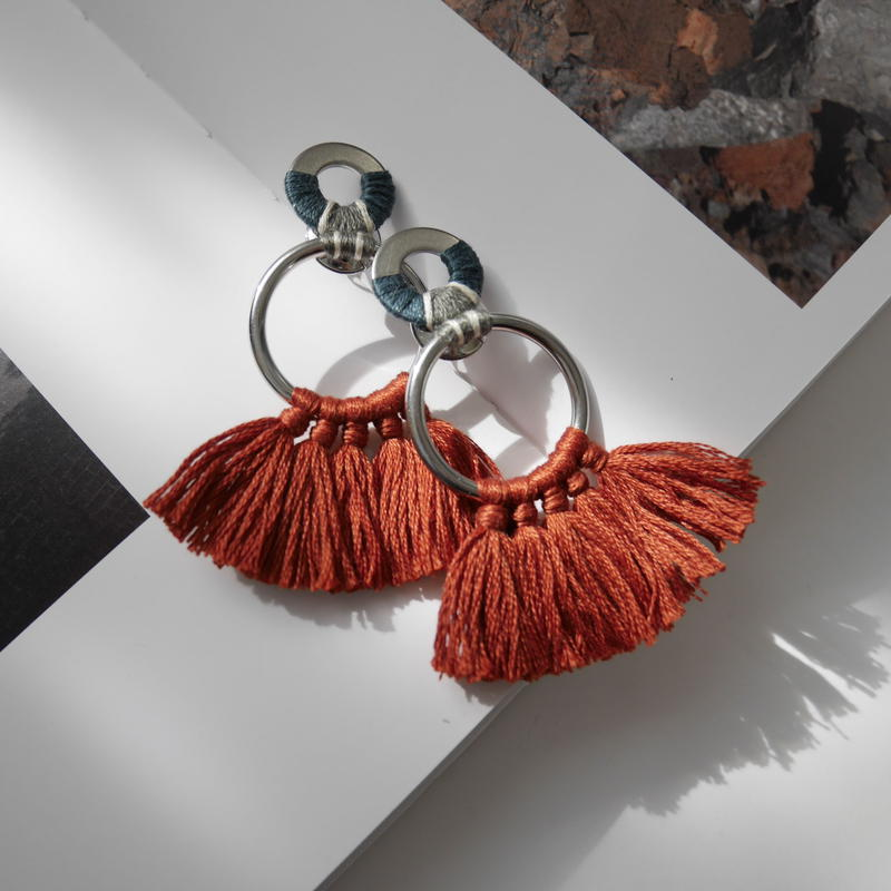 fringe pierce/earring TERRACOTTA