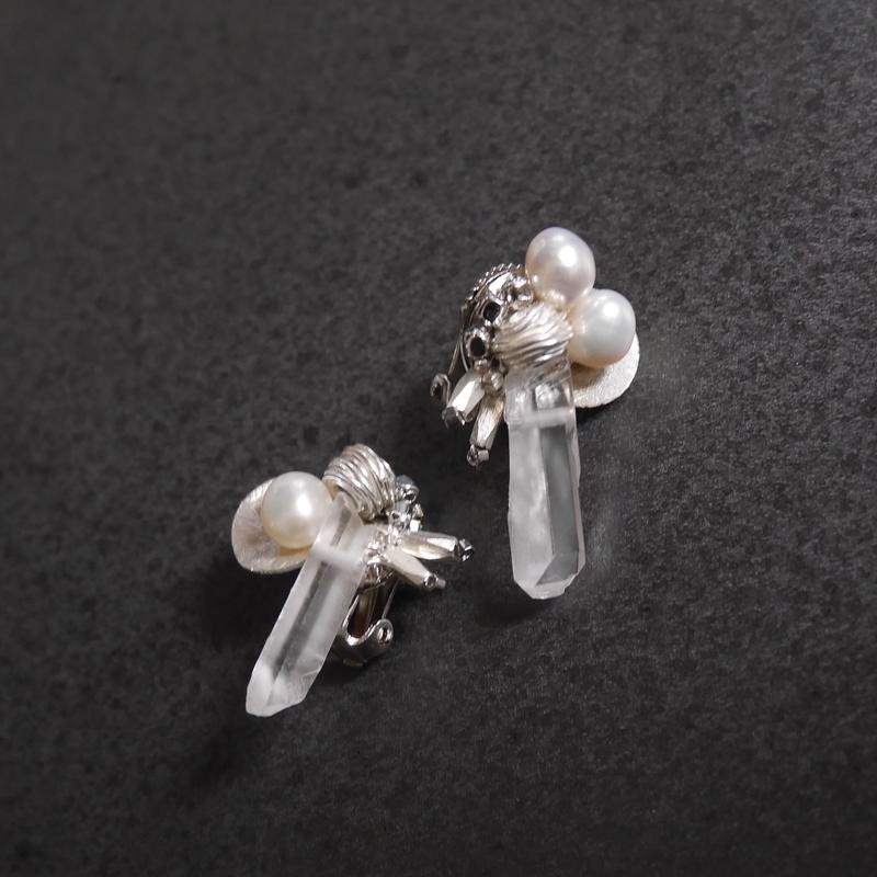karen crystal pierce/earring WHITE PEARL