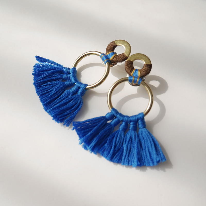 fringe pierce/earring TURCO BLUE