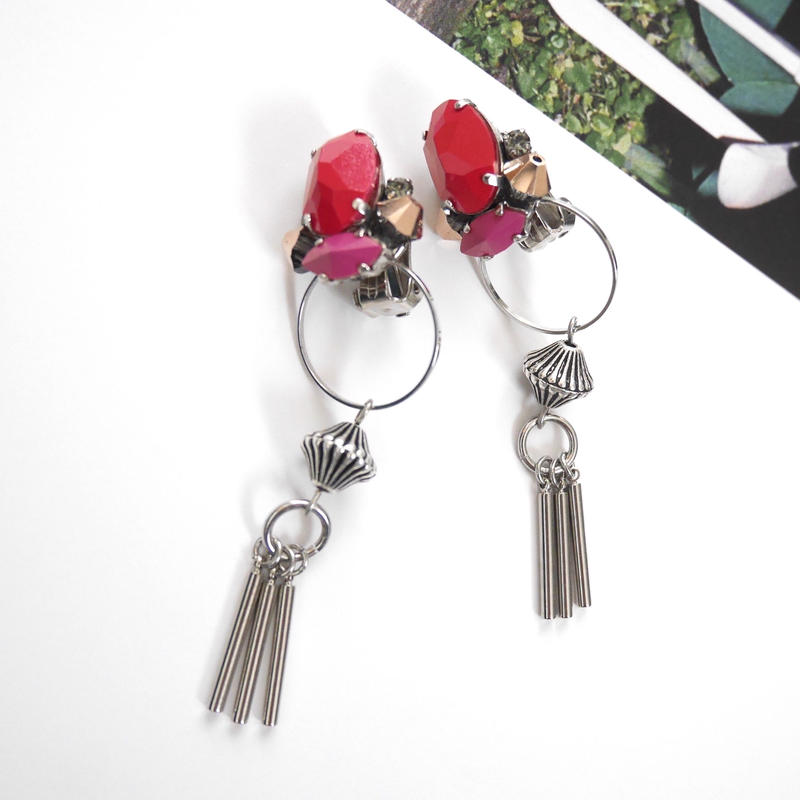 cement pierce/earring  RED