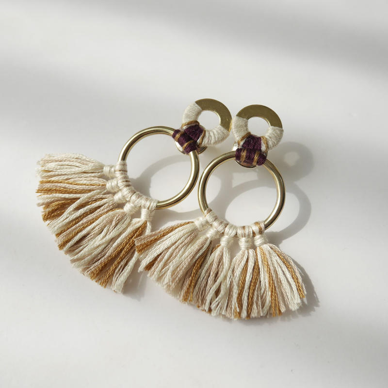 fringe pierce/earrings  OATMEAL