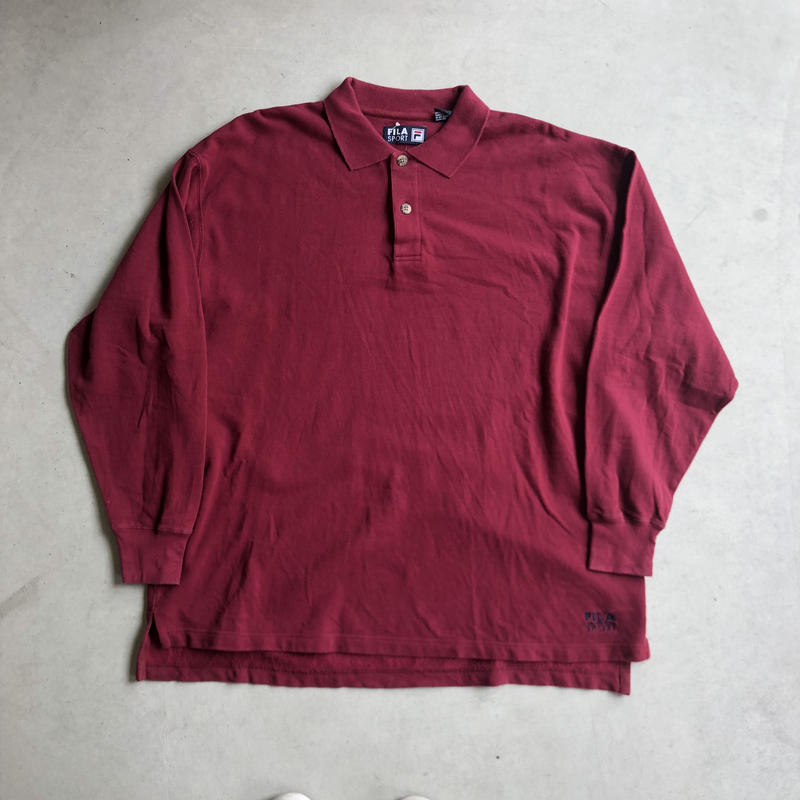 90s FILA SPORT L/S Big Polo Shirt