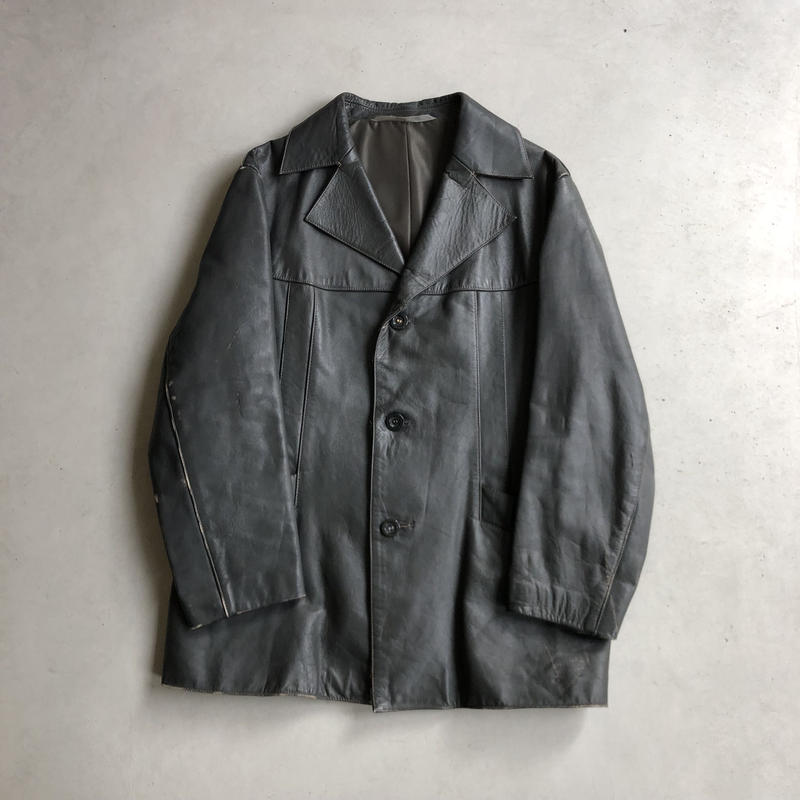 70s German Made Leather Car Coat