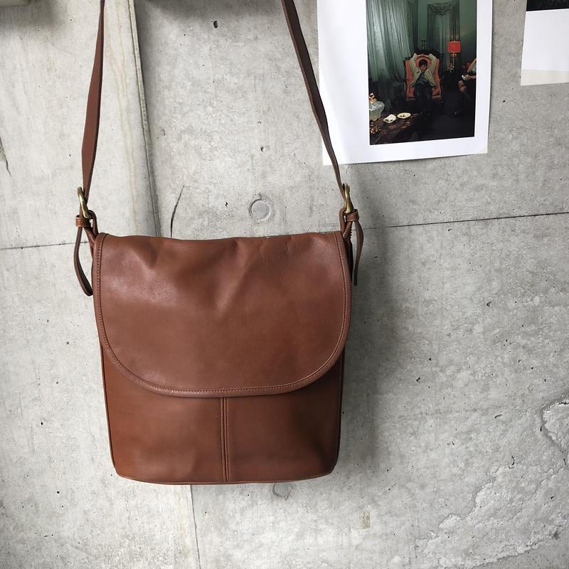 Old COACH Grab Leather Flap Shoulder Bag Brown