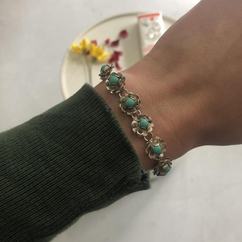 Flower Motif Silver Bracelet