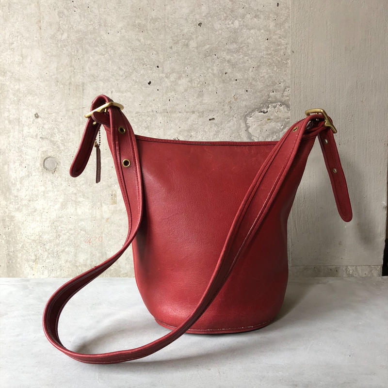 Old Coach Grab Leather Bucket Bag Red