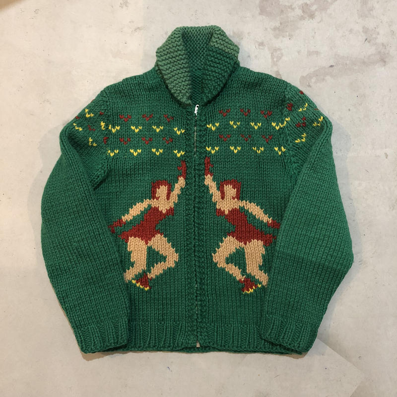 50s cowichan sweater ice skate