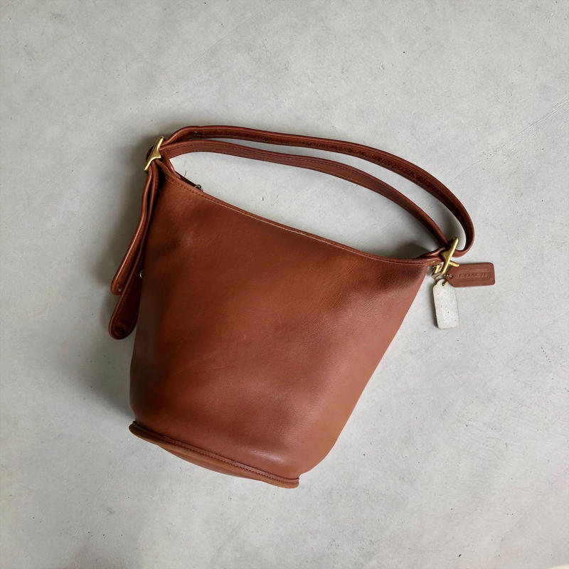 Old Coach Grab Leather Bucket Bag Brown