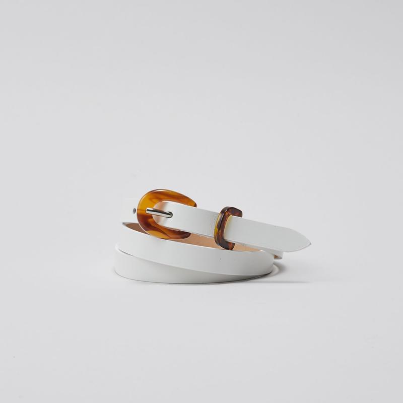 tov Bekko Buckle Leather Belt(White)