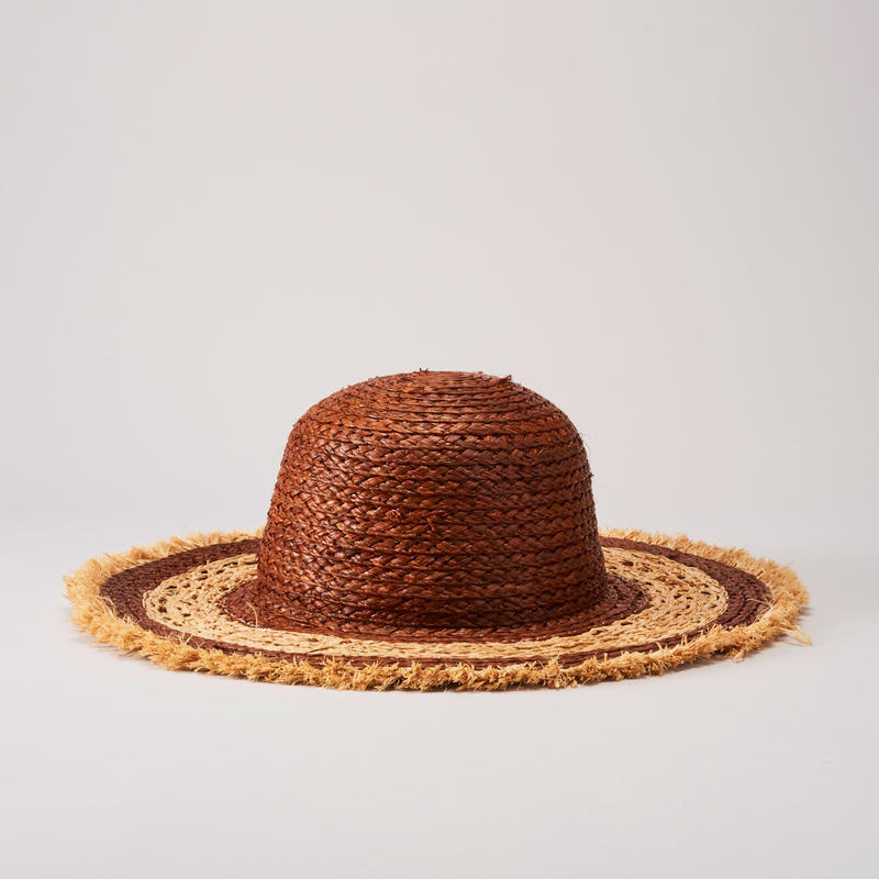 ADD CULUMN OpenworkRaffiaHat(Brown)