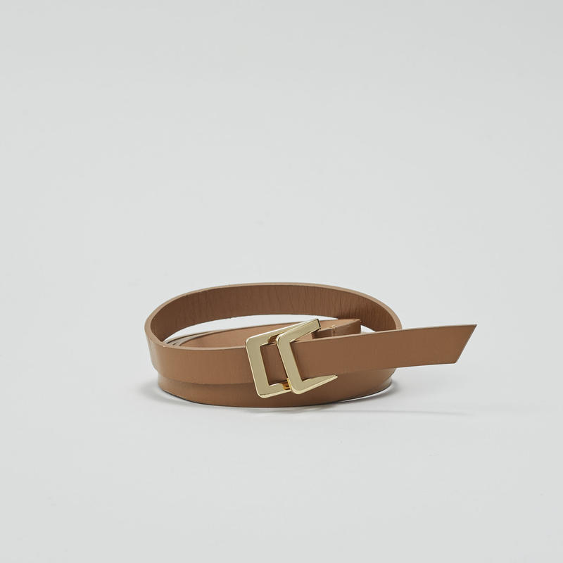 tov W Buckle Leather Belt(Camel)