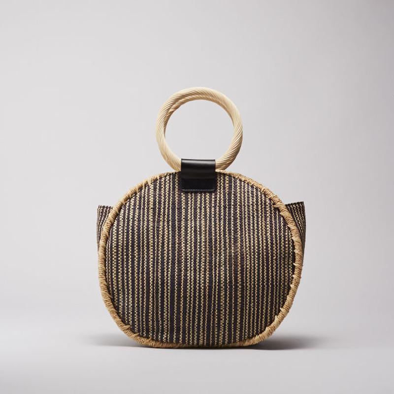 EleSac RAFFIA SHEET ROUND BAG 01BLK No.E19S7B03