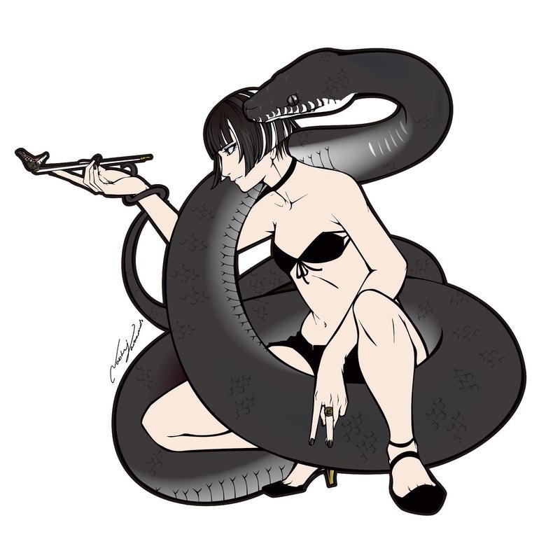 【REPTILE GIRL】アルバーティスパイソン キミカブラック ステッカー