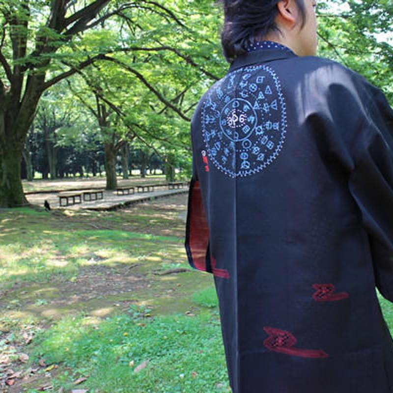 <TUTAE>Haori1017 (for summer)  black with vermilion embroidered patterns