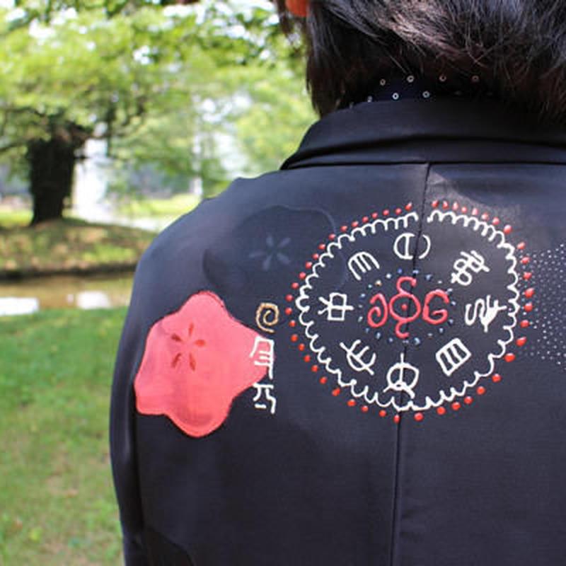 <TUTAE>Haori1004  black with red ume blossoms