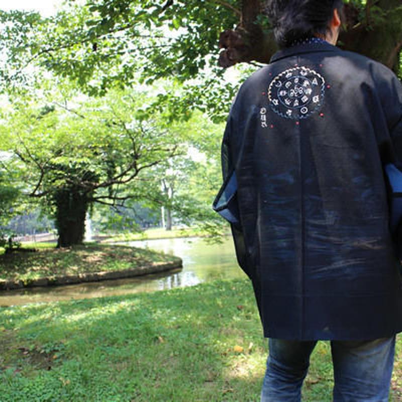 <TUTAE> Haori1010 (for summer) black with bluish silver patterns