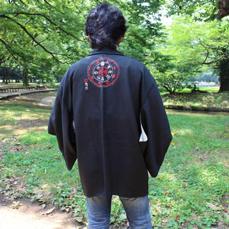 <TUTAE> Haori1005  black with black embroidered design