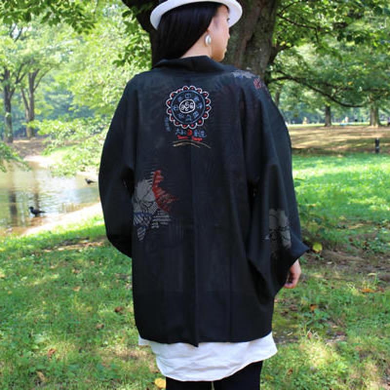 <TUTAE> Haori1015 (for summer) black with flowers