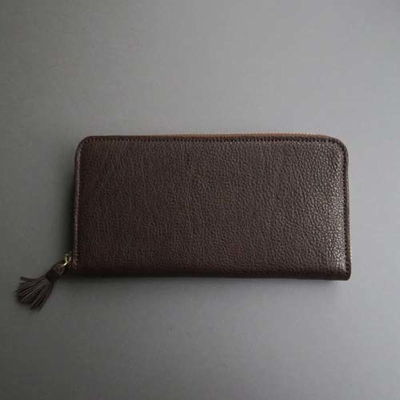 tassel zip long wallet (dark brown)