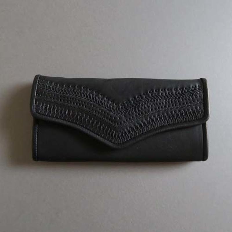 stitch long wallet (black)