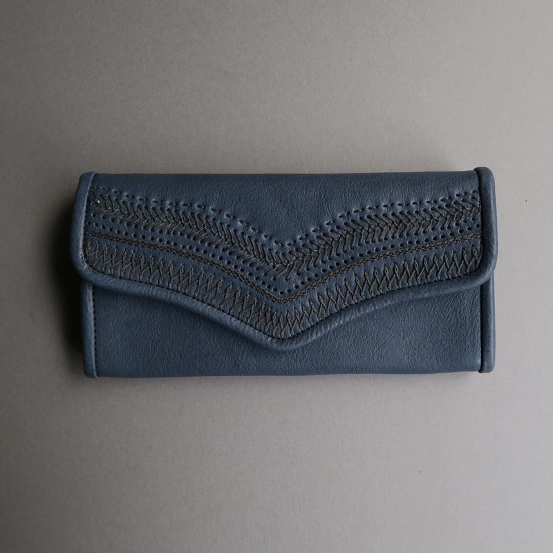 stitch long wallet (blue)