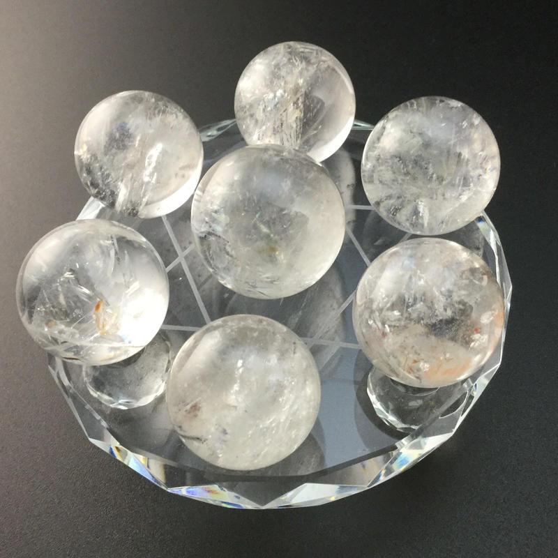 天然水晶丸玉(約21㎜~約24㎜) 七星盤(ガラス製) セット