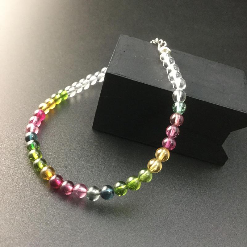 宝石級 スーパークリアートルマリンと水晶のブレスレット