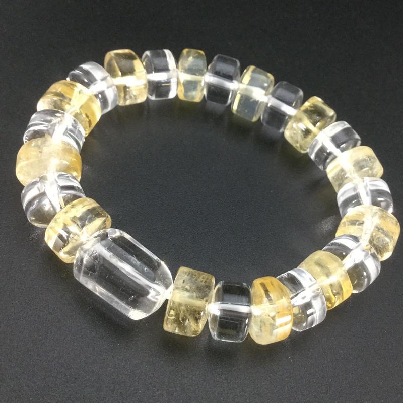 シトリンボタン型と水晶ボタン型・水晶タンブルのブレスレット