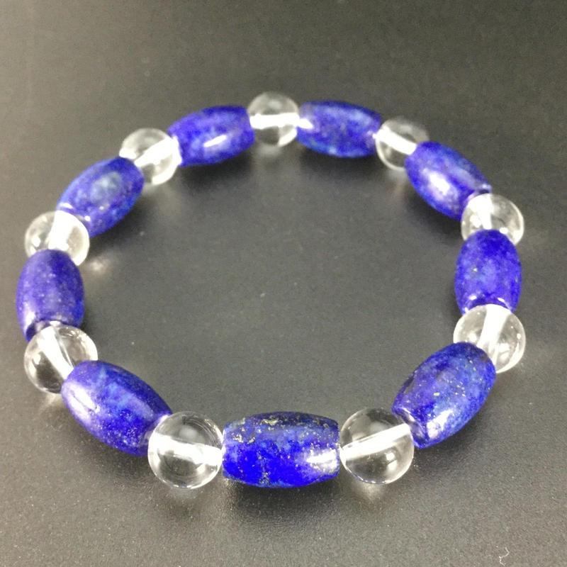 古より色あせることのない青 ラピスラズリと水晶のブレスレット