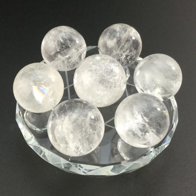 天然水晶丸玉(約23㎜~約25㎜) 七星盤(ガラス製) セット