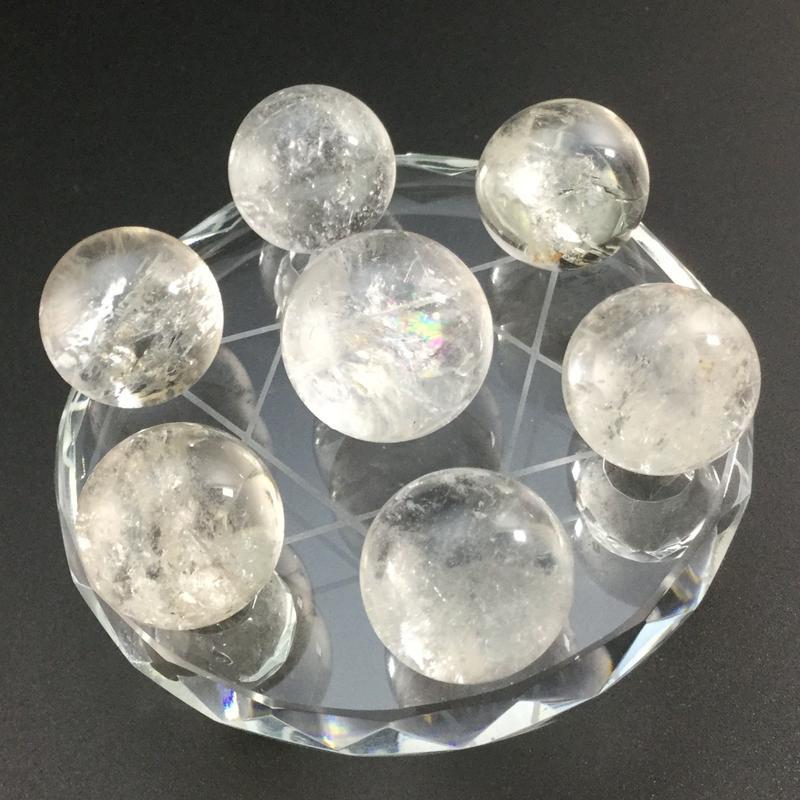 天然水晶丸玉(約19㎜~約22㎜) 七星盤(ガラス製) セット