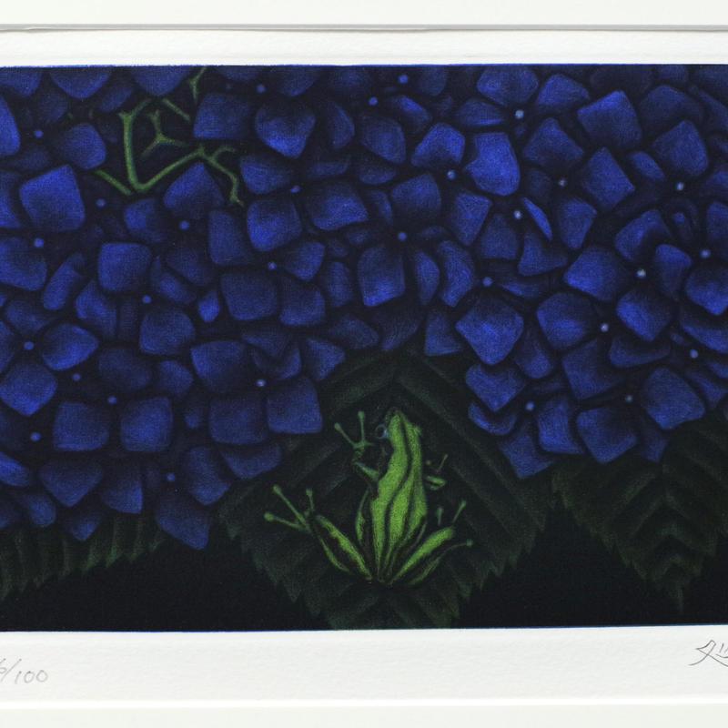 加山又造「雨」 メゾチント(銅版画)100部の内の86番