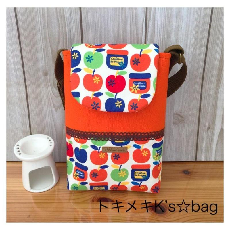 オレンジ☆りんご&ジャム柄☆ポシェット♪ショルダーバッグ*ハンドメイド