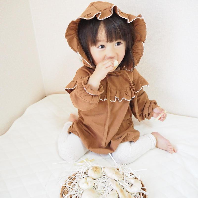 【2色展開】コットンフリルロンパース&ボンネットset