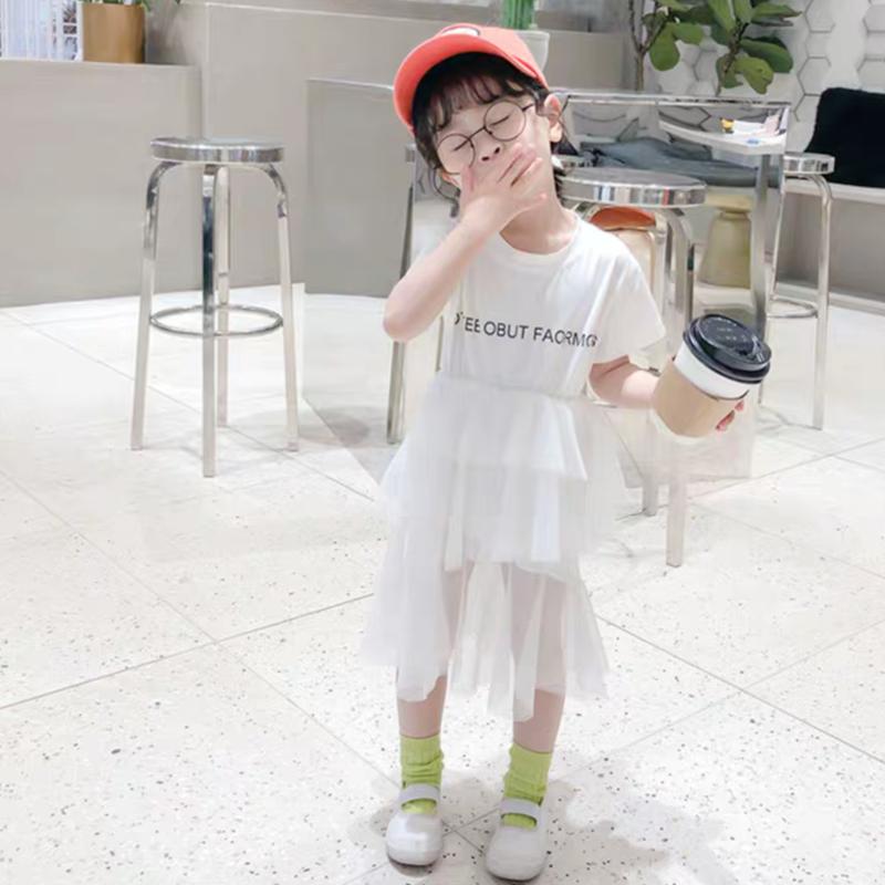 【4色展開】Tシャツ×チュールドッキングワンピ