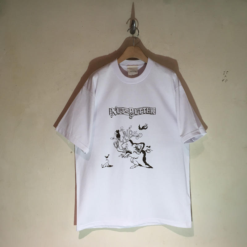t-shirt white x dark brown