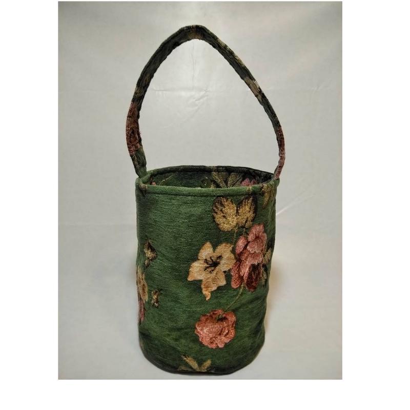 ゴブラン調花柄円柱型バッグ